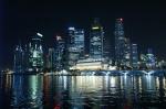 El distrito financiero de Singapur de noche