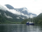Catamaran in Deep Cove (Doubtful Sound)
