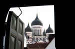 Tallinn, Estonia. Torres Alexander Nevsky Cathedral from the Cathedral of Santa Maria.