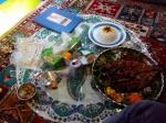 Comida en restaurante tradicional en Isfahán