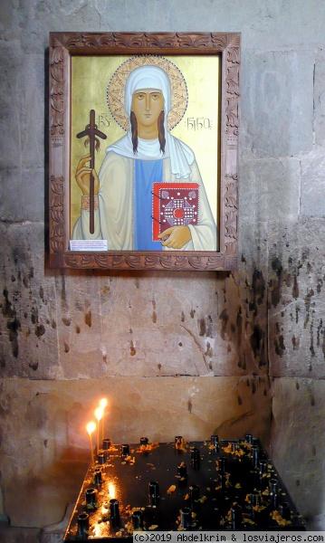 Jvari: vista de Mtskheta e icono de Santa Nino