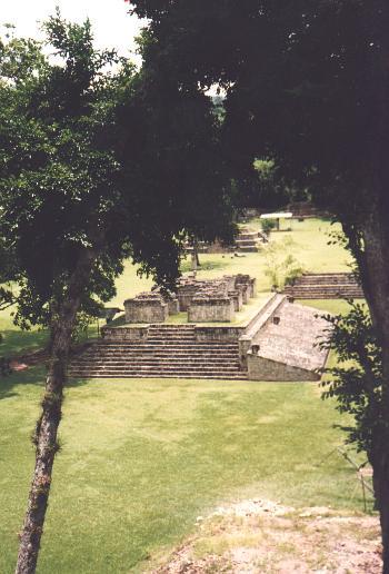 Pyramid Mayan arqueologic site in Copan - America Piramide en las ruinas arquelogicas de Copan - America