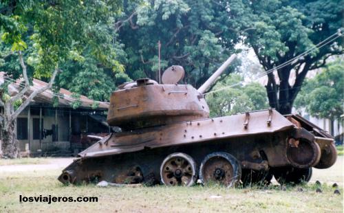 American Tank T-28 or Russian Tank T-34/85 - Laos - Travel Pic